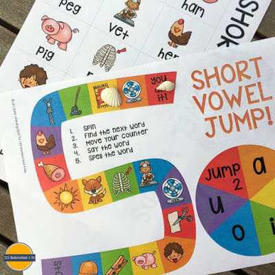 Practice spelling and writing CVC words with this short vowel jump activity.