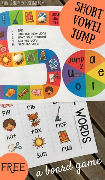 Help children practice reading short vowels with this fun, short vowel games printable. Have fun with three letter words with this Short Vowel Board Game! Thisvowel games printable is perfect for early readers from pre-k, kindergarten, first grade, and review for 2nd graders. SImply download pdf file withshort vowel sounds games, print in black and white or color, and you are ready to read and play.