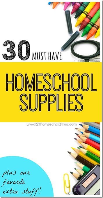 30 Must have School Supplies for Homeschool plus our favorite extra stuff - These are great for new homeschoolesr and every homeschooling family to have on hand for next year. Stock up on back to school sales! #homeschool #homeschooling #backtoschool