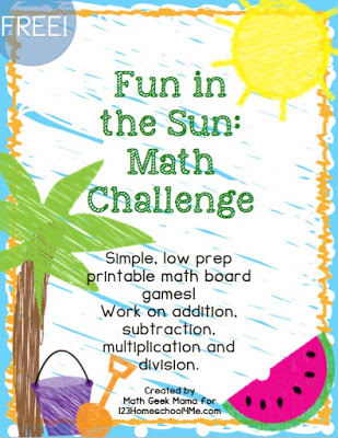 Fun in the Sun Board Games are fun math games for kindergarten, first grade, second grade, third grade, fourth grade, and fifth grade kids
