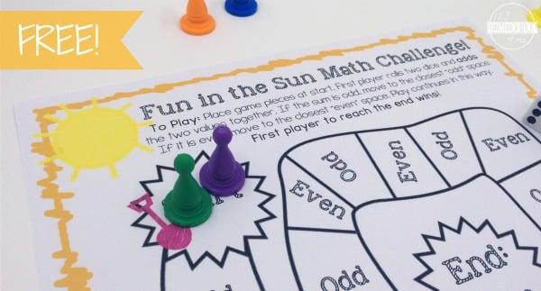 fun in the sun low prep math gamea