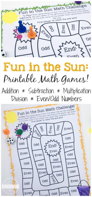 Help kids continue to practice math so they avoid the dreaded summer learning loss with these free printable,summer math. These free summer printable is fun math board game that will help kids in kindergarten, first grade, second grade, third grade, and fourth grade review addition, subtraction, multiplication, division, and even/odd numbers. Simply download pdf file with summer game and you are ready to practice math!