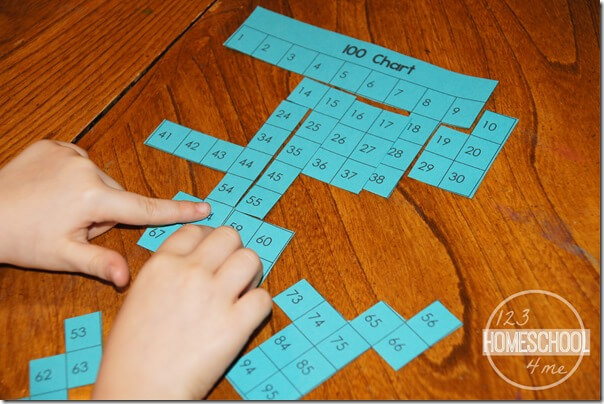 Hundreds Chart Puzzle Math Activity for Kindergarten, 1st grade