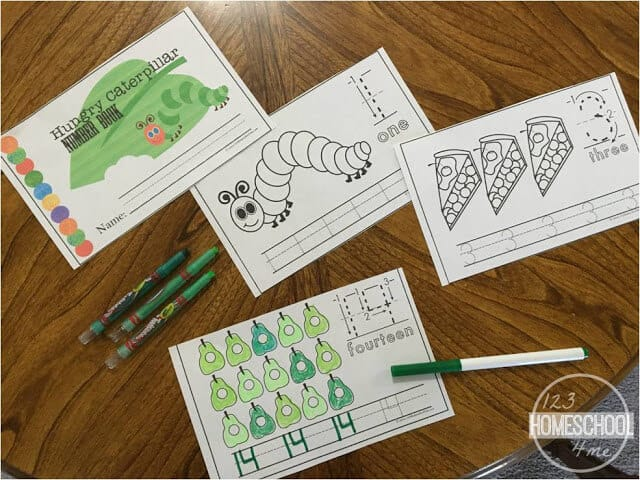 Hungry Caterpillars Number Tracing Worksheets