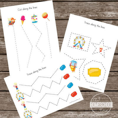 Carnival themed preschool worksheets
