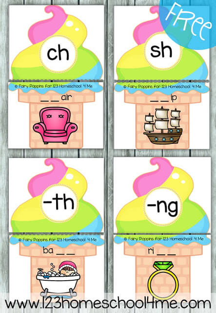 FREE Digraph Ice Cream Puzzles - these are such a fun way for kids to practice identifying both beginning and ending digraphs in words. This is perfect for literacy centers, summer learning for kids, and homeschooling with first grade and second grade kids. LOVE THIS!!  #digraphs #firstgrade #2ndgrade