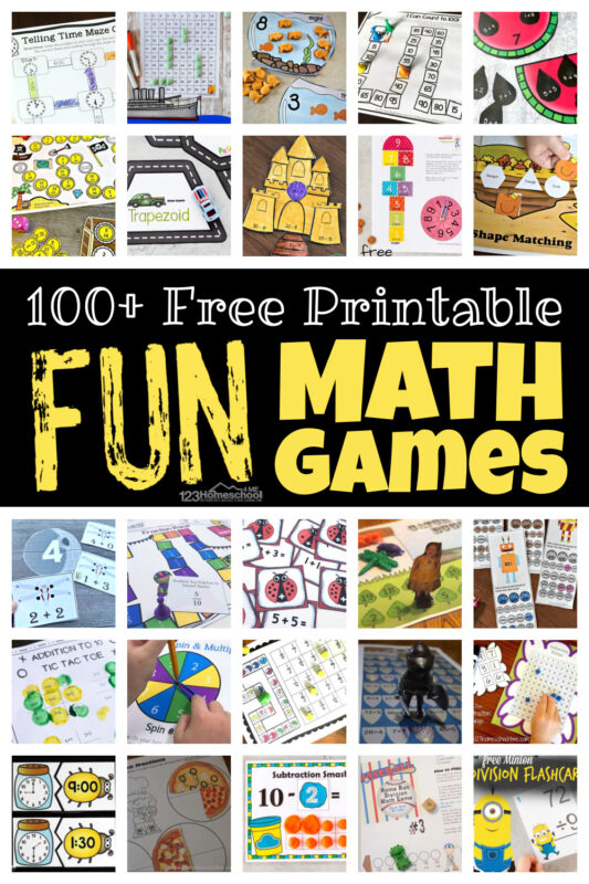 When it comes to math, kids need LOTS of practice! But practicing math is not always tops on kids' list. But kids love playing games! So turn practice into fun math games and kids will be eager to get in that all-important math practice. We have printable math games for preschool, pre-k, kindergarten, first grade, 2nd grade, 3rd grade, 4th grade, 5th grade, and 6th graders too! The hardes part is picking whichprintable math games to try first! So whether you use these for school at home, a suppelement to your homeschool, classroom math center orsummer math games - we've got you covered!