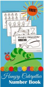 FREE Hungry Caterpillar Number Book - Practice Counting and writing numbers with this super cute, free printable for Toddler, Preschool, and Kindergarten age kids! LOVE THIS! (kids activities, eric carle day, homeschool, preschoolers, prek) #hungrycaterpillars #numberworksheets #preschool