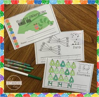 hungry caterpilllar number worksheets for toddler, preschool, prek, ,kindergarten