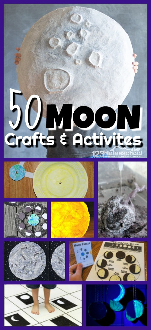 Are you and your child exploring the moon? Learn about this beautiful nighttime light that changes shape daily with these super cute moon crafts for kids and engaging moon activities for kids. We   have so many creative moon projects for kids of all ages to learn about the moon or Celebrate National Moon Day on July 20th. Use these fun crafts for kids from preschool, pre k, kindergarten, first grade, 2nd grade, 3rd grade, and 4th grade students.