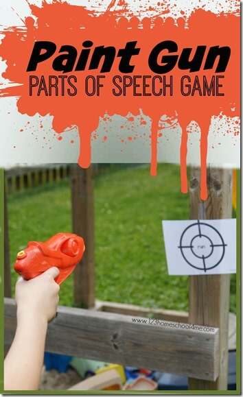 Paint Gun Parts of Speech Kids Activity - This is such a fun summer learning activity to help kindergarten, first grade, second grade, 3rd grade, and 4th grade kid practice identifying noun, verb, adverb, adjective, adverbs. Perfect summer activity for kids! #partsofspeech #summerlearning #learninggames