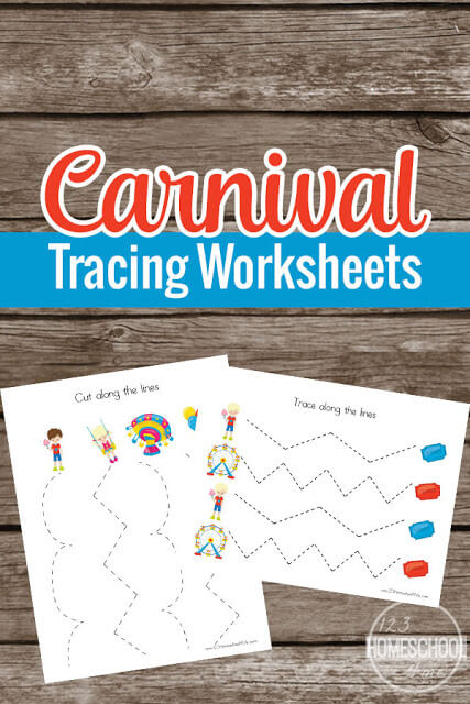 FREE Carnival Prewriting Tracing Worksheets - these free printable pages are super cute and perfect to help toddler, preschool, and prek children practice holding a pencil and refining fine motor skills. **We use these as scissor practice!!