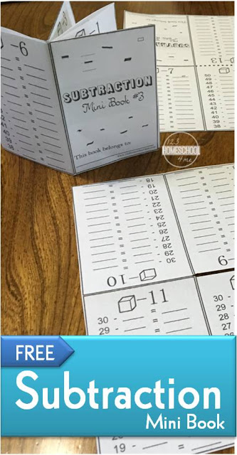 FREE Subtraction mini book - this clever math printable is way better than your run-of-the-mill subtraction worksheets! Students complete worksheet, fold, and make a cute mini book for quick reference. This  is such a fun way for kids to gain math fluency while getting in subtraction practice.  #mathworksheets #firstgrade #subtraction