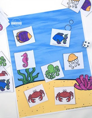 super cute 3rd Grade Fraction Activities with ocean animals, hands on math game, and math worksheets too. Perfect for 3rd grade, 4th garde, 5th grade, and 6th grade math.