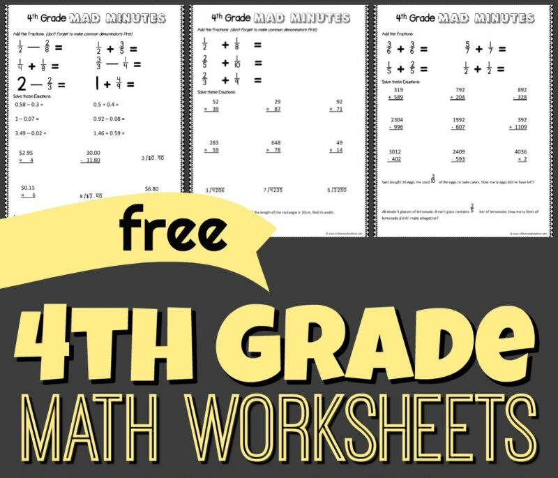 4th grade math - free printable math worksheets to help grade 4 practice addition, subtraction, division, word problems, fractions, and more!