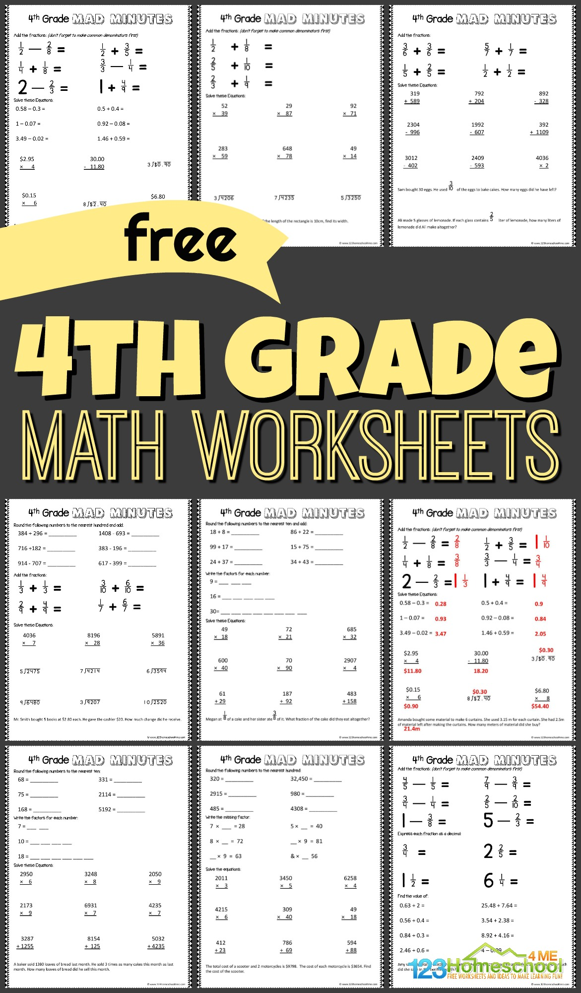 Help your kids get extra math practice with these free printable 4th Grade Math Worksheets. These free printable 4th grade worksheets are no-prep, download pdf file... print....go! These free homeschool worksheets are perfect for summer learning, math centers, and extra practice with grade 4 math, and to help kids gain math fluency in fourth grade.