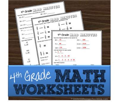 free printable 4th grade math worksheets