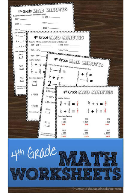 FREE math worksheets - These 4th grade worksheets are free, printable, and are great for extra practice, math centers, summer learning for forth graders (addition, subtraction, multiplication, division, fractions, story problems and more)