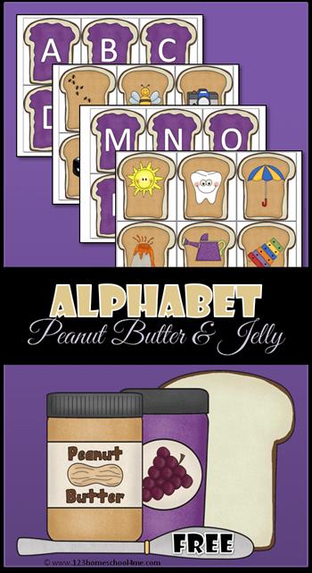 FREE Alphabet Peanut Butter and Jelly - alphabet sound recognintion activity for Prek, Preschool and Kindergarten