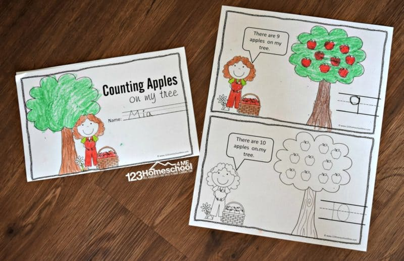 Apple Counting Book is a fun september math activity for pre k, kindergarten students