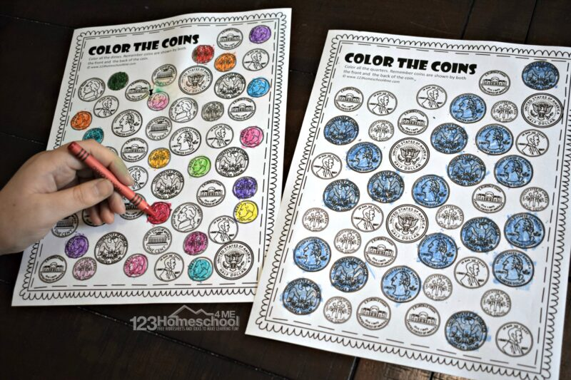 Free printable Color by Coin Worksheet to teach kindergarten and first grade students to identifying quarters, dimes, nickels, pennys, and more
