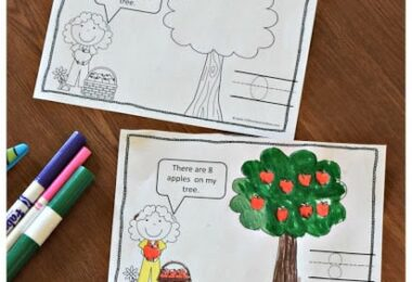 fun Counting Apples printable for math with preschoolers and kindergartners