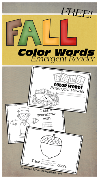 FREE Fall Color Words Emergent Readers - This is such a fun fall learning activity. LOW PREP! Great for strengthening fine motor skills while learning color words with a fun fall twist for Toddler, Preschool, PreK, Kindergarten, and first grade.