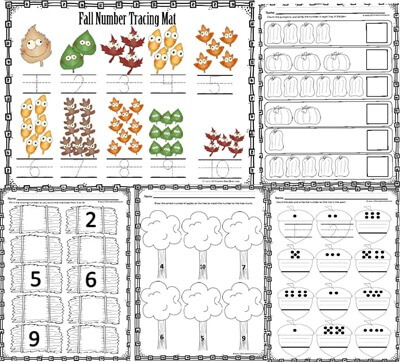 Fall Number Worksheets TPT3
