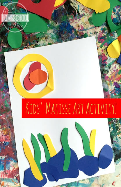 Matisse Art Project for Kids - this is such a fun project kids from toddler, preschool, prek, kindergarten, first grade, second grade, 3rd grade and more will love! Unlike the usual painting projects associated with famous artists - this one cuts and pastes out shapes to tell a story! LOVE THIS!