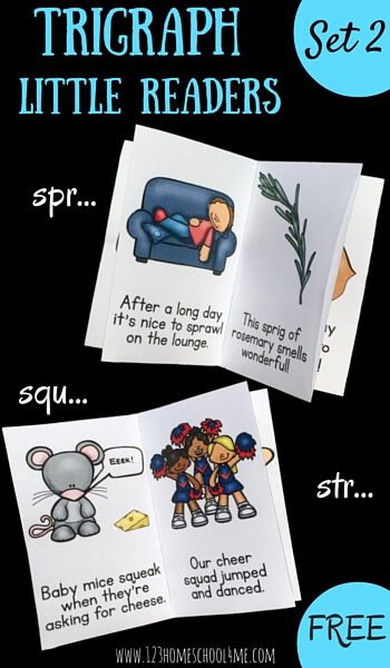 FREE Trigraph Little Readers - Take phonics to the next step by helping kids learn to sound out, read, and identify spr, squ, and str in this free printable reader for kindergarten, first grade, and second grade students. These are great for use in literacy centers, homeschooling, summer learning, and more!