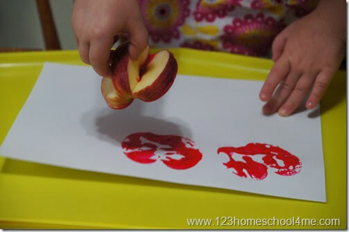 stamping apples in preschool