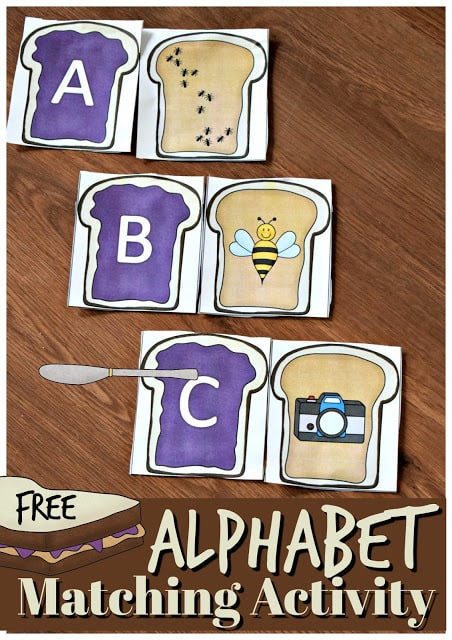 FREE Alphabet Peanut Butter and Jelly Activity - this free alphabet printable phonics game helps kids learn to recognize alphabet letter sounds by matching them to make peanut butter and jelly sandwiches. This is such a fun back to school activity for young learners #alphabet #phonics #prek #kindergarten