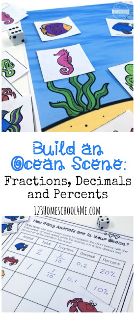 FREE Build an Ocean scene Fraction Activity - this hands on math activity allows students to practice fractions, decimals, and percents while having fun with a math game! Includes hands on and math worksheet for 3rd grade, 4th grade, 5th grade, and 6th gradestudents #homeschool #fractions #mathgame #grade3 #grade4 #grade5 #grade6