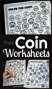 FREE Money Worksheets - help kids learn what american coins look like with these fun worksheets to work on visual discrimination of quarters, dimes, nickels, pennys, and more! #coins #money #kindergarten
