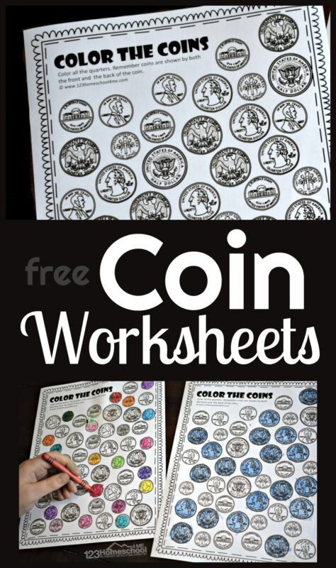 Help children learn American money and work on visual discriminaiton with these free printable coin worksheets. These color by coin worksheet pages help kids learn about money for kids by learning to tell the differences between coins with these fun Money Worksheets. This color by coinactivity is perfect for for preschoolers, pre k, kindergartners, and first graders. This is such a fun no prep free math worksheet! Simply download pdf file withcoin recognition worksheetsband you are ready to color and learn!