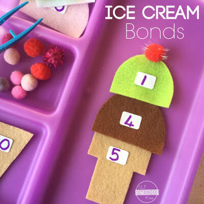 ice cream number bonds for preschool, prek, kindergarten, first grade
