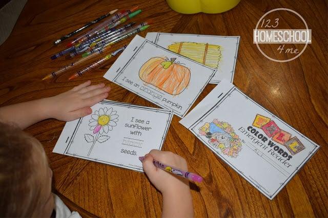 learn color words with free printable emergent reader for preschool, prek ,kindergarten