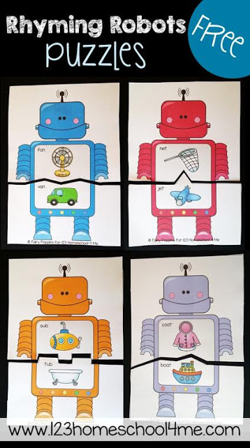 Rhyming Robots Game is a fun way for toddler, preschool, prek, kindergarten, and first grade kids to practice rhyming. There are various levels to these free printable rhyming puzzles and lots of extension ideas. These are perfect for literacy centers, summer learning, homeschool, and so much more! SO CUTE!!