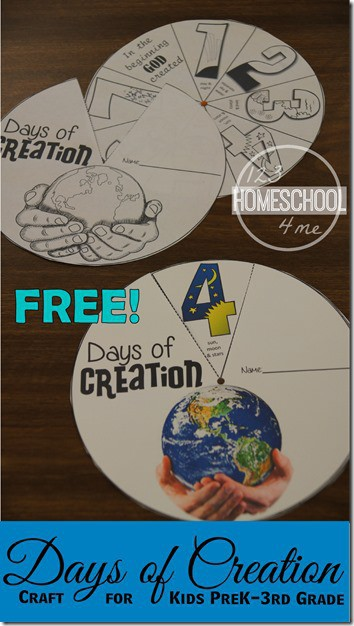 FREE Days of Creation craft for kids - this is such a fun Bible craft to teach about the 7 Days of Creation for Kids. It includes both color and black and white free printable for an easy Sunday School craft for toddler, preschool, prek kindergarten, first grade, 2nd grade kids. #sundayschool #biblecraft #craftsforkids