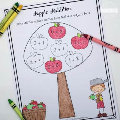 Apple Addition Coloring Worksheets