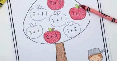 fun and free apple addition activity for prek, kindergartner, and 1st graders