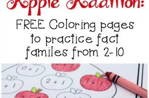 Do you enjoy creating themed weeks in your homeschool studies? If you are learning about all things apples, you will love this set of Apple Addition Coloring Worksheets to help your kids practice addition with an apple theme! This set is designed to teach preschool, pre k, kindergarten, and first grade students addition within 10,  number bonds and increase fact fluency. Plus, coloring is so much more fun than writing out lots of math problems!