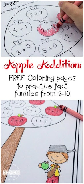 Add in apple math to your September apple themes with this free printable set of Apple Addition Coloring Worksheets to help your kids practice addition with an apple theme! This set is designed to teach preschool, pre k, kindergarten, and first grade students addition within 10, number bonds and increase fact fluency. Plus, coloring is so much more fun than writing out lots of math problems!