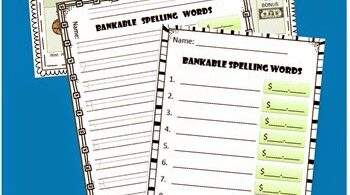 Money Spelling Words Activity with free printable money worksheets for 2nd grade, 3rd grade, and 4th grade students.