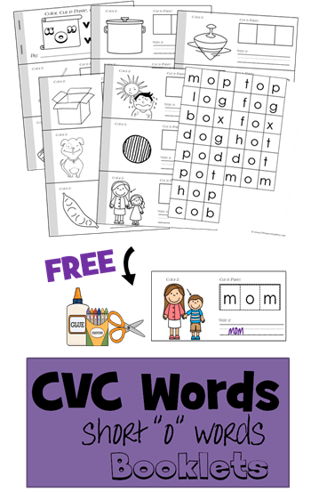 FREE CVC Words Worksheets cut and paste to make a book - includes short o vowel words perfect for helping kids in preschool, prek, kindergarten, and first grade learn to read and spell