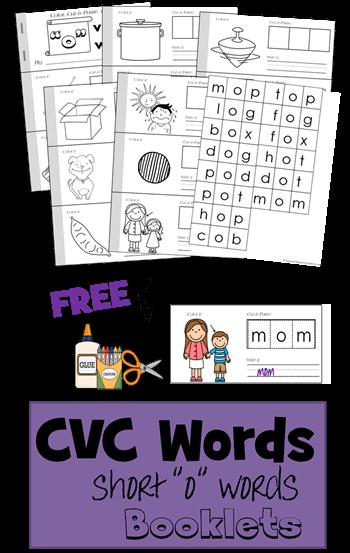 Free Cvc Short O Words Cut And Paste Book 123 Homeschool
