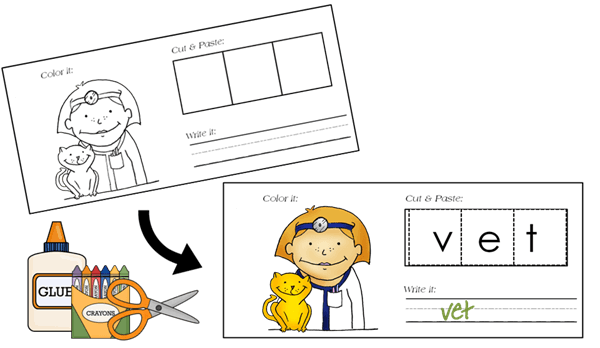 CVC Words short e for preschool kindergarten 1st grade