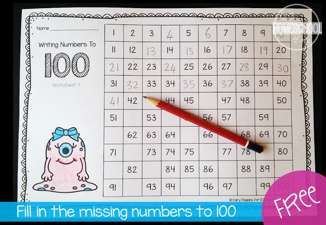 Free Fill In The Missing Numbers To 100