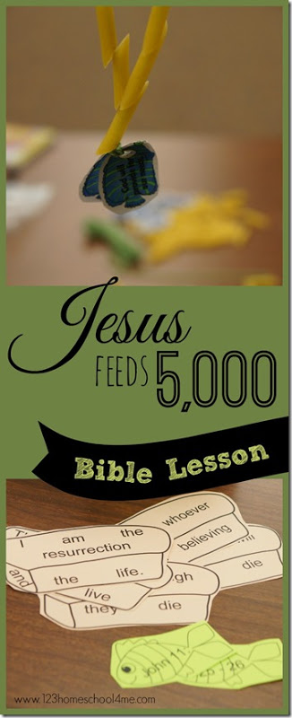 Jesus Feeds 5000 craft and Sunday School Lessons with a free printable bible crafts for kids that is simple-to-and a fun Bible Games for kids preschool, toddlers, kindergarten, first grade, 2nd grade too. (children ministry)