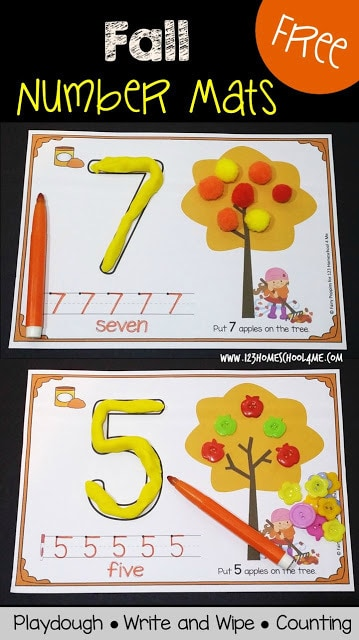 FREE Fall Number Mats - toddler, preschool, and prek students will have fun counting 0-10 with this super cute, free printable fall counting activity! Students will use the playdough mats to form numbers, trace numbers, and practice counting in this math activity for preschoolers perfect for autumn. #preschool #playdoughmat #fallmath #prek